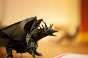 black-origami-dragon