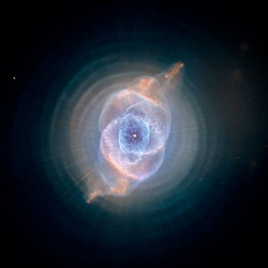 The Cat's Eye Nebula, one of the first planetary nebulae discovered, also has one of the most complex forms known to this kind of nebula. Eleven rings, or shells, of gas make up the Cat's Eye. Credit: NASA, ESA, HEIC, and The Hubble Heritage Team (STScI/AURA) Acknowledgment: R. Corradi (Isaac Newton Group of Telescopes, Spain) and Z. Tsvetanov (NASA) The Hubble Space Telescope is a project of international cooperation between NASA and the European Space Agency. NASA's Goddard Space Flight Center manages the telescope. The Space Telescope Science Institute conducts Hubble science operations. Goddard is responsible for HST project management, including mission and science operations, servicing missions, and all associated development activities.